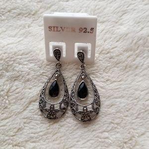 Jewelry - Silver 92.5% Marcasite Pear-Shape Drop Earrings